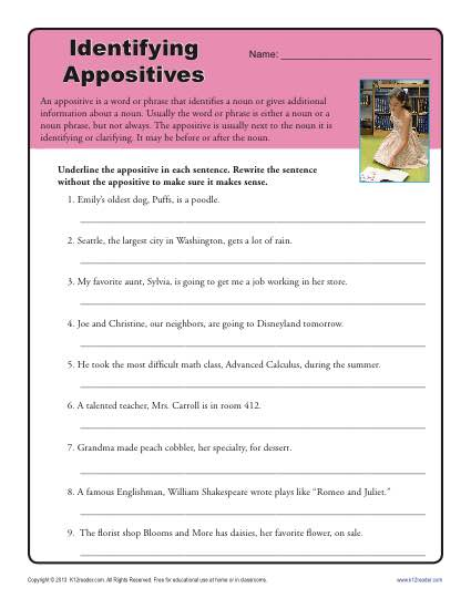 Writing appositives worksheets
