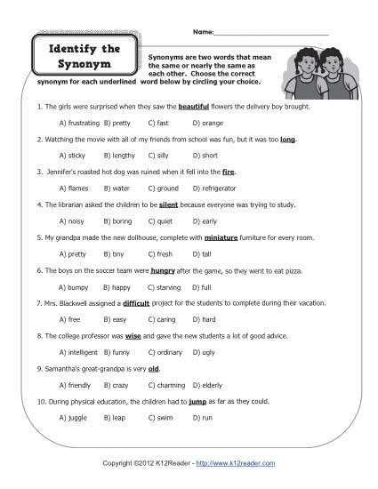 Identify the Synonym | 4th Grade Worksheets