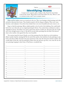 Printable Abstract and Concrete Nouns Worksheet - Identifying Nouns