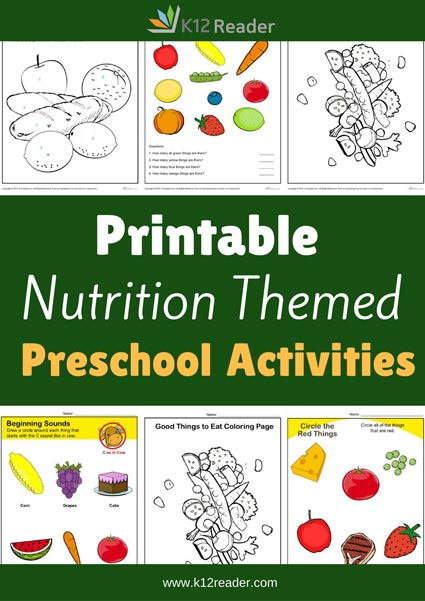 Nutrition Themed Printable Activities for Preschool