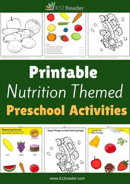Nutrition Preschool Theme Activities on High School Age Worksheets