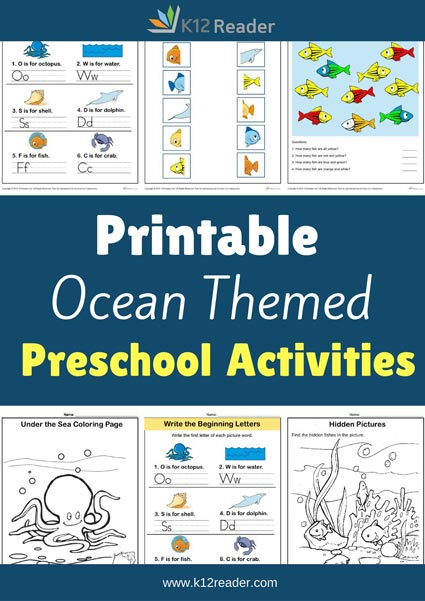 Ocean Themed Printable Activities for Preschool