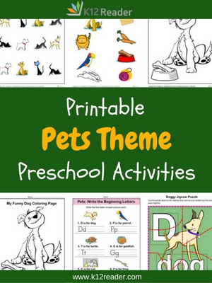 Pets Themed Printable Activities for Preschool