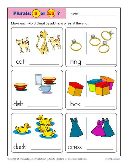 Kindergarten Plural Noun Worksheet Activity - S or ES