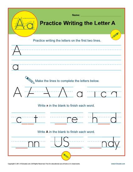 Handwriting Practice Activity - Letter A