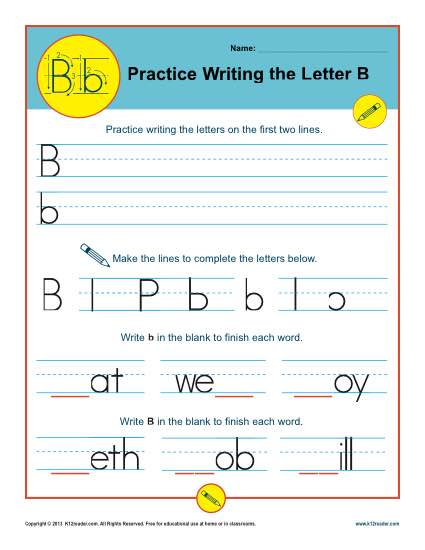 Letter b handwriting practice