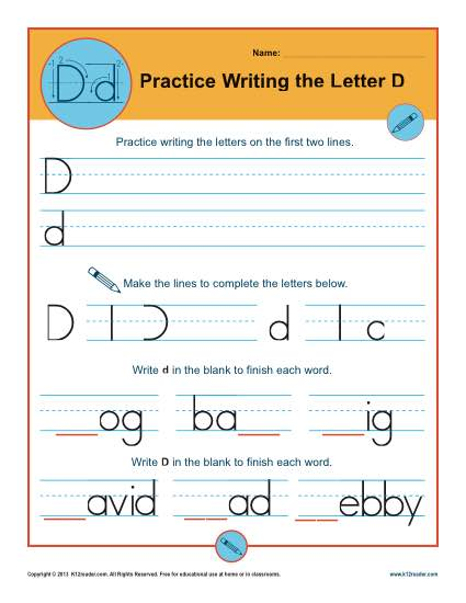 Handwriting Practice Sheet - Letter D