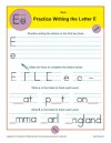 Practice Writing the Letter E