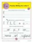 Handwriting Practice Sheet - Letter E