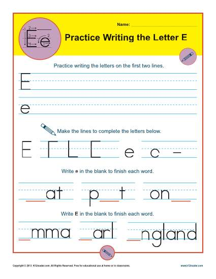 Handwriting Practice Sheet - Letter E