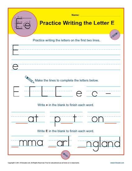 handwriting practice sheet letter e