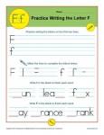 Handwriting Practice Sheet - Letter F