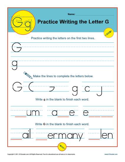 Handwriting Practice Sheet - Letter G
