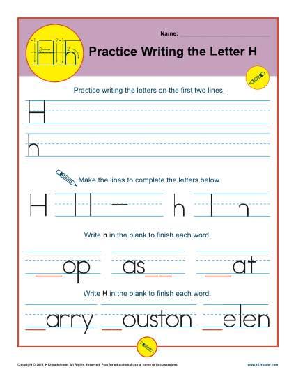 Letter H Worksheets | Printable Handwriting Worksheet