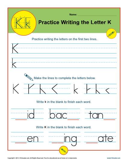 graphic relating to Letter K Printable known as Letter K Worksheets Printable Handwriting Worksheet