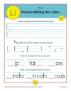 Practice Writing the Letter L