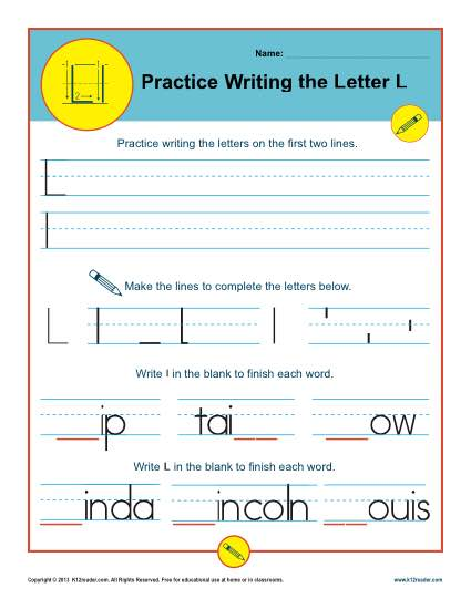 Handwriting Practice Sheet - Letter L