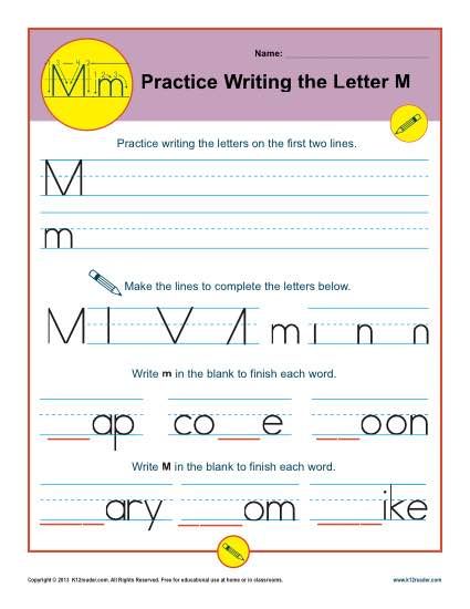 Handwriting Practice Sheet - Letter M