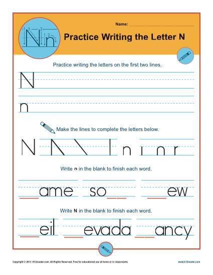 Writing practice letter N stock vector. Illustration of guide ...