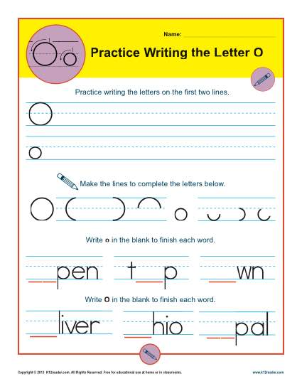 Handwriting Practice Worksheet - Letter O