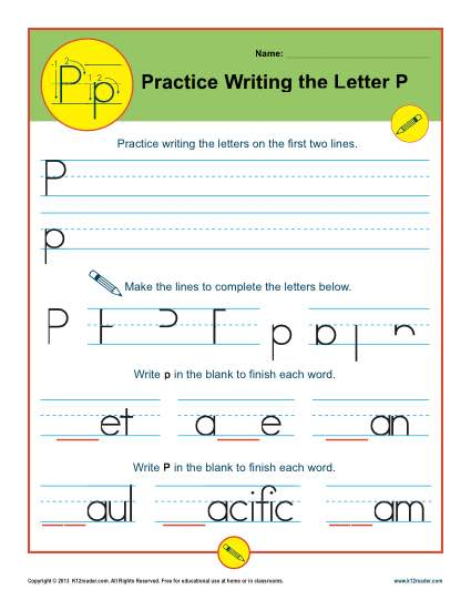 Handwriting Practice Worksheet - Letter P