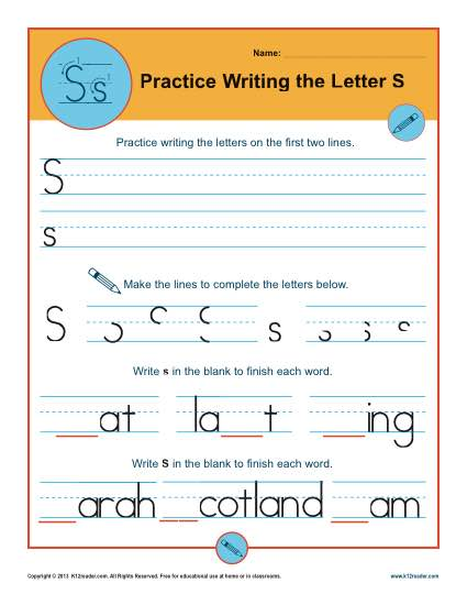 Handwriting Practice Activity - Letter S