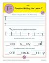 Handwriting Practice Worksheet - Letter T