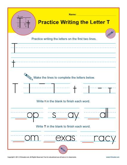 Handwriting Practice Worksheet - Letter T