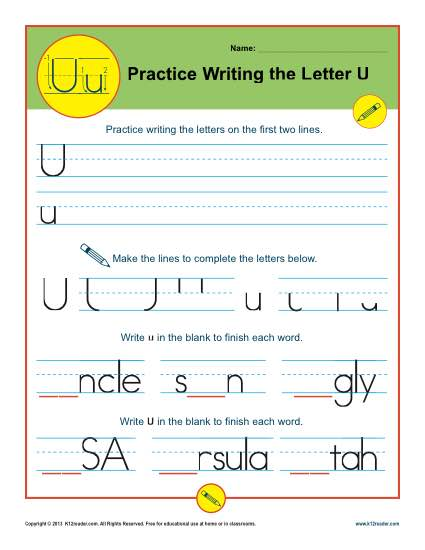 Handwriting Practice Activity - Letter U