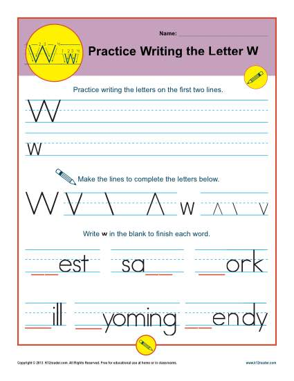 Handwriting Practice Activity - The Letter W