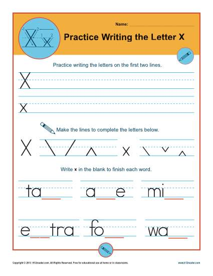 Letter X Worksheets | Printable Handwriting Worksheet