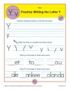 Practice Writing the Letter Y