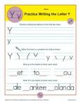 Handwriting Practice Worksheet - The Letter Y
