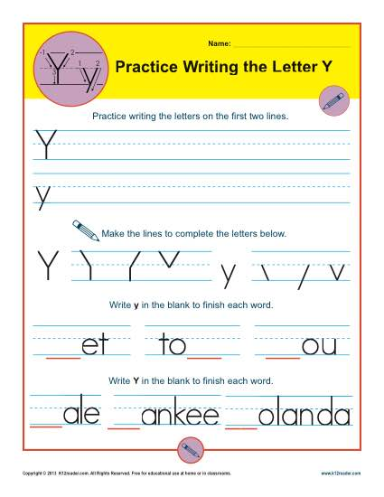 Letter Y Worksheets Printable Handwriting Worksheet