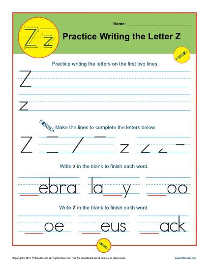 Handwriting Practice Activity - The Letter Z