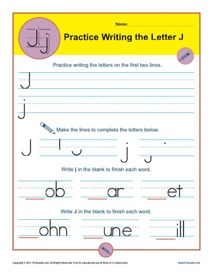 Handwriting Practice Sheet - Letter J
