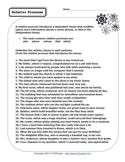 picture about Printable Noun Worksheets known as Relative Pronouns Pronoun Worksheets