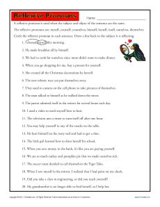 Free, Printable Reflexive Pronoun Activity!