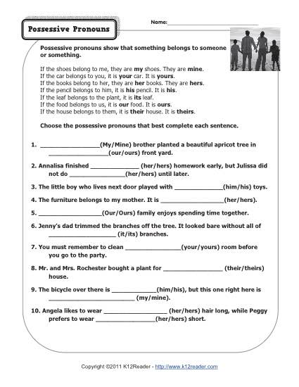 Possessive Pronouns Pronoun Worksheets