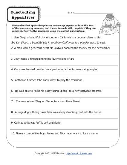 Punctuating Appositives - Free, Printable Appositive Worksheet Practice Activity