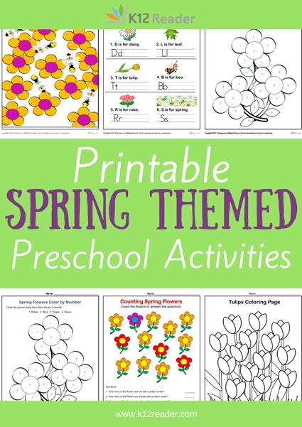 Spring Themed Printable Activities for Preschool