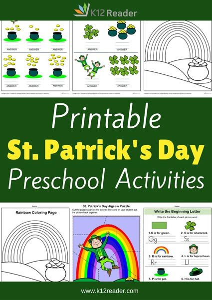 St. Patrick's Day Themed Printable Activities for Preschool