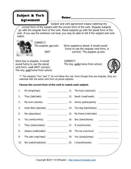 subject and verb agreement worksheets. Black Bedroom Furniture Sets. Home Design Ideas