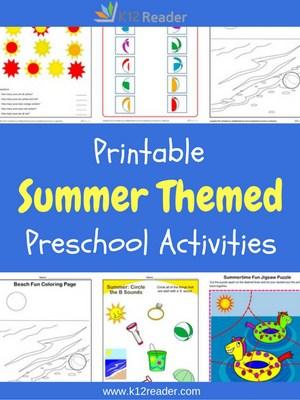 Summer Themed Printable Activities for Preschool