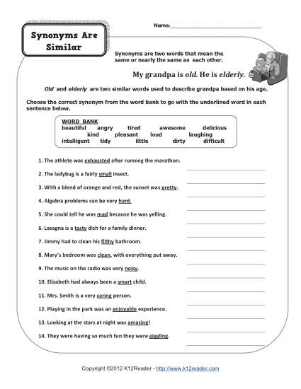 Synonyms Are Similar 4th Grade Synonym Worksheets 4 Grade Geography Worksheets Printable Parts Of Speech Worksheet Synonyms