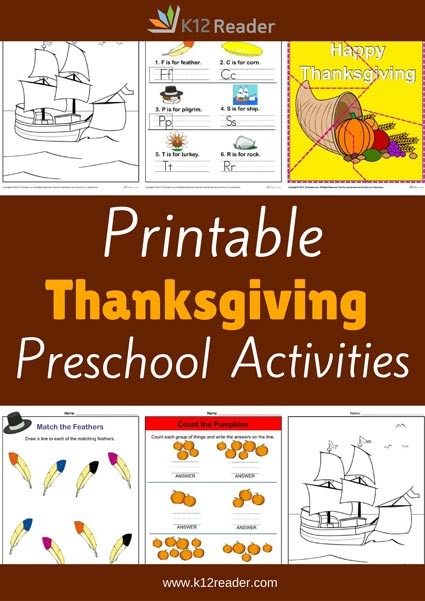 Thanksgiving Themed Printable Activities for Preschool