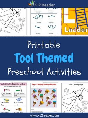 Tool Themed Printable Activities for Preschool