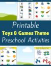 Toys and Games Themed Printable Activities for Preschool