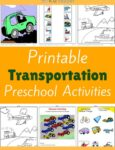 Transportation Themed Printable Activities for Preschool
