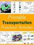 Transportation Themed Printable Activities for Preschool